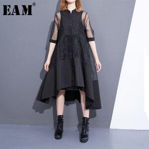 Image 1 - [EAM] 2020 חדש קיץ צווארון עומד שלושה רובע שרוול שחור Oragnza רשת תפר רופף שתי חתיכה שמלת נשים אופנה T456