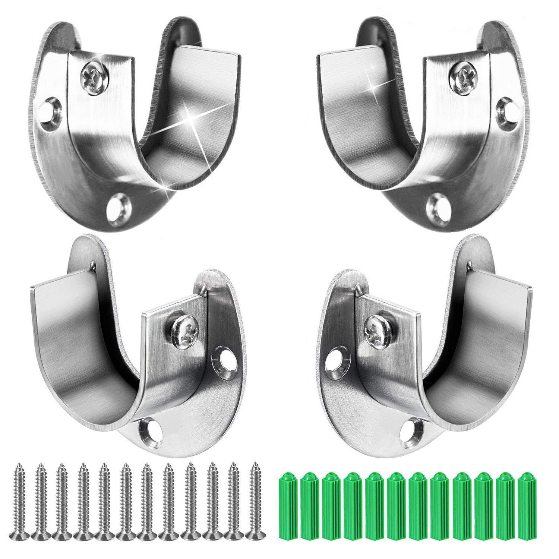 2 paquetes de extremos de barra de cortina de ducha de servicio pesado para el armario Soportes de barra de brida con tornillos 25mm Enchufes de acero inoxidable para postes de armarios