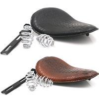 Motorcycle Cushion for Harley Cushion Chopper Bobber Crocodile Leather Saddle Seat Retro Brown / Black Seat Spring Bracket