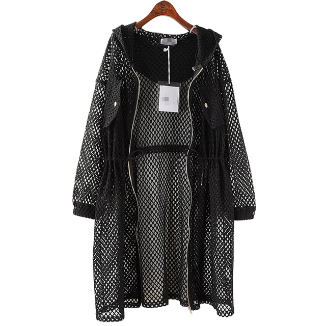 EWQ New Spring 2019 Fashion black big size net mesh drawstring waist hooded hollow thin