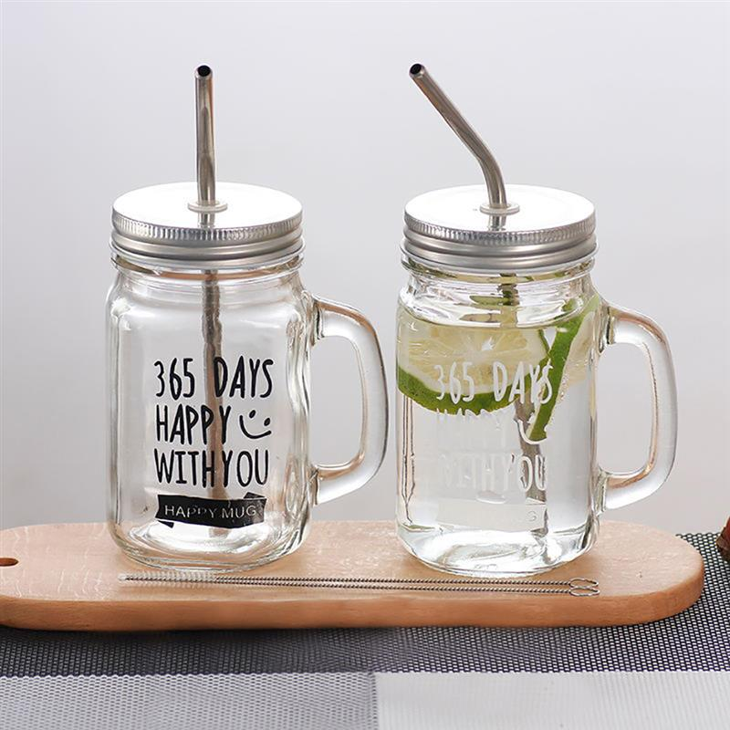2pcs Mason Jar Mugs Coffee Juice Mug Bottle For Couples Classic Insulated Tumbler Water Bottle Metal Lid Smoothie-Sized Straws2pcs Mason Jar Mugs Coffee Juice Mug Bottle For Couples Classic Insulated Tumbler Water Bottle Metal Lid Smoothie-Sized Straws