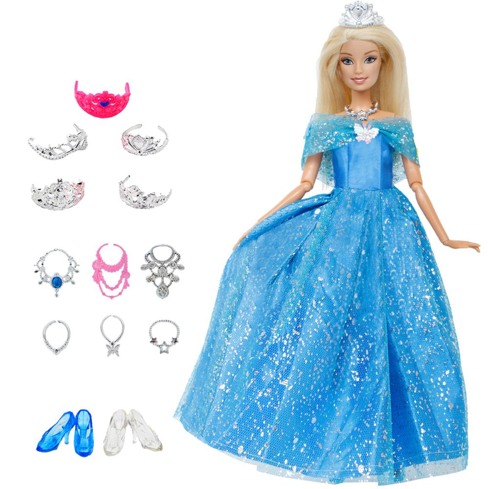 14 Pcs / Lot = 1x Doll Dress Copy Cinderella Princess + 13xRandom Accessories Shoes Handbag Glasses Clothes For Barbie Doll Toys