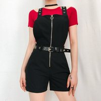 Casual Jumpsuit Short Women Overalls Gothic Hollow Cross Suspender Playsuit Zipper Summer Streetwear Hipster Black Romper Shorts