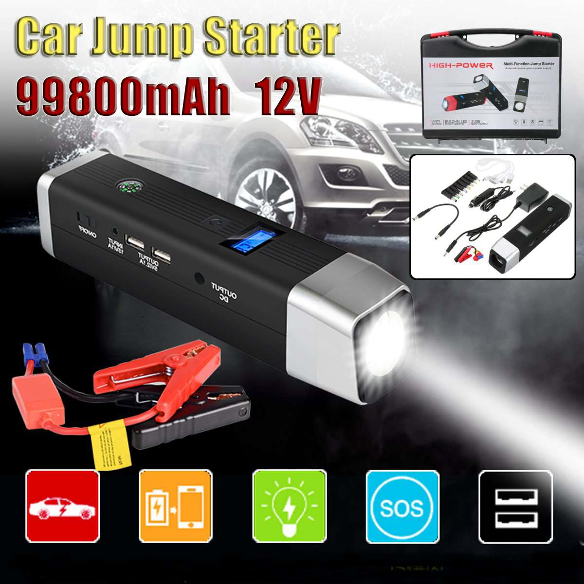 12V 600A Emergency Car Jump Starter High Power Portable Power Bank Vehicle Battery Charger Startup Power for car Starting Device12V 600A Emergency Car Jump Starter High Power Portable Power Bank Vehicle Battery Charger Startup Power for car Starting Device