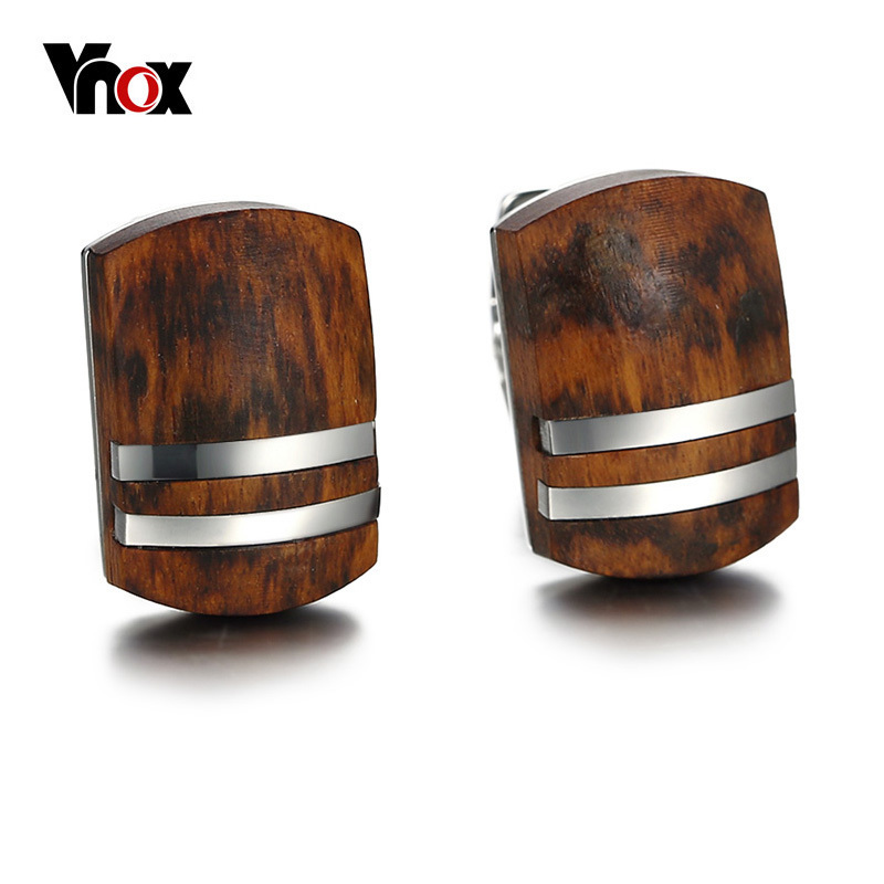 Vnox Mens Cufflinks with Retro Rosewood High Quality Stainless Steel Cufflinks for Men JewelryVnox Mens Cufflinks with Retro Rosewood High Quality Stainless Steel Cufflinks for Men Jewelry