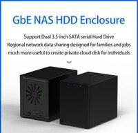 Dual Disks HDD Enclosure 3.5'' NAS Disk Box Gigabit Ethernet Max 70MB/s Wireless Speed External USB3.0 LAN Port Exclusive App
