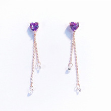 LNRRABC Elegant Purple Cubic Zircon Heart Dangle Earrings Women Fashion  Crystal Tassel Pendientes Asymmetrical trend earrings