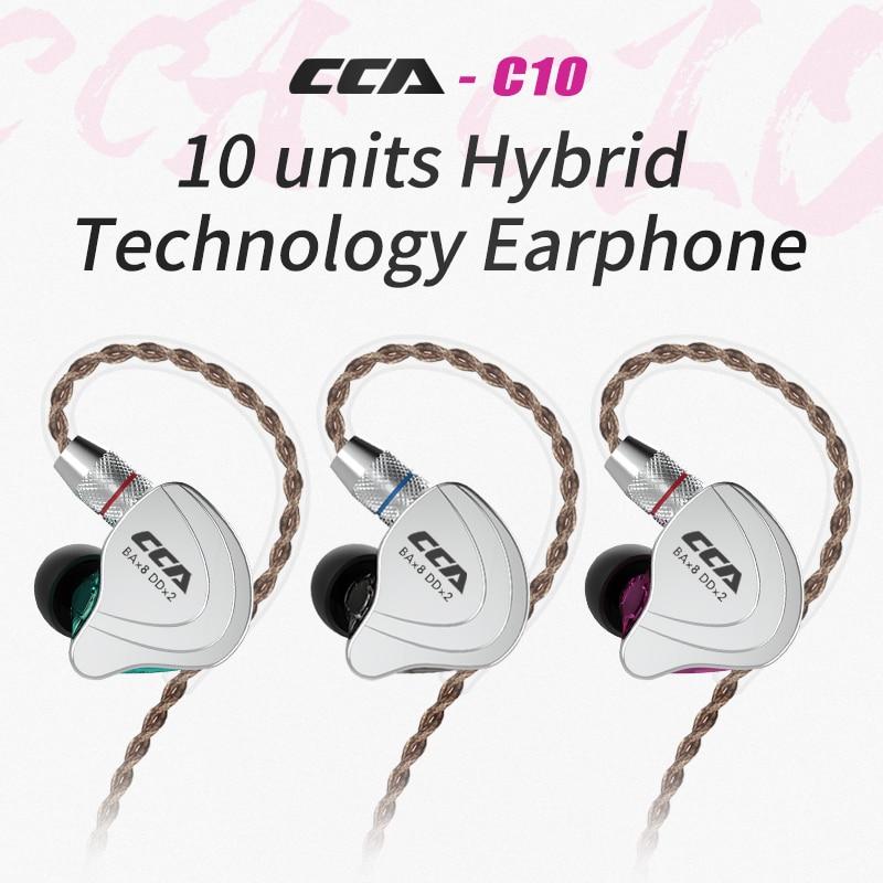 CCA C10 4BA 1DD  5 Drive Unit Headset Hybrid In Ear Earphone HIFI DJ Running Sports Earphone Detachable Detach 2PIN Cable AS10