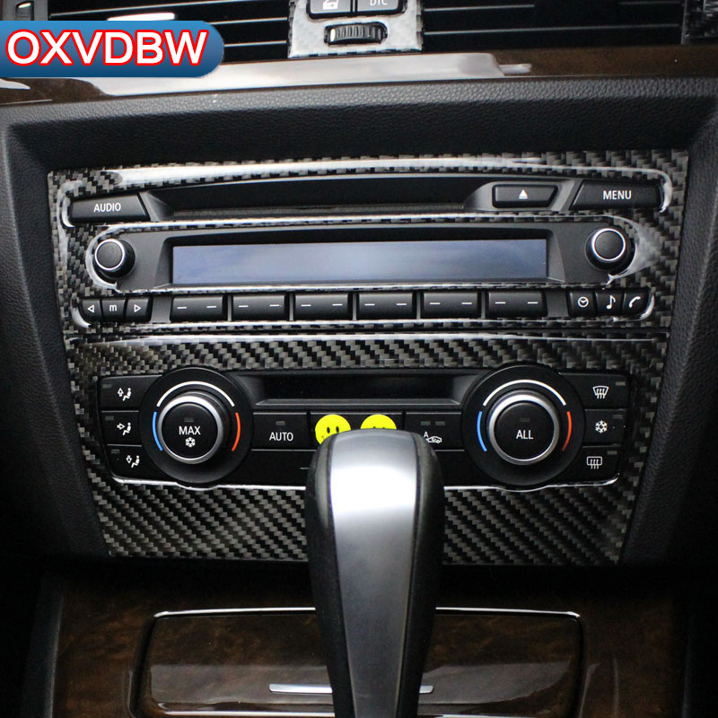 Pour BMW e90 accessoires bande de Fiber de carbone climatisation CD panneau décoratif couverture garniture Auto intérieur voiture style autocollant 3D