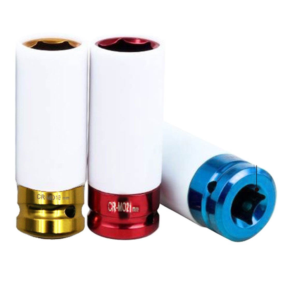 Sleeves 17 19 21mm Car Tire Protection Sleeves 3pcs Set Wall Deep Impact Nut Alloy Wheel Socket Red Blue Yellow