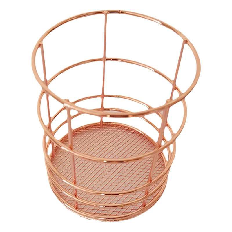 Rose Gold Wire Net Pencil Holder Round Iron Mesh Pen Cup Stationery Organizer Desk Sorter For Office Home School