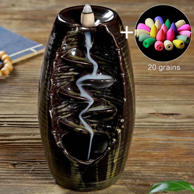 Brûleur dencens à reflux de fumée en céramique aromathérapie four cône encens cascade montagne rivière artisanat porte encens