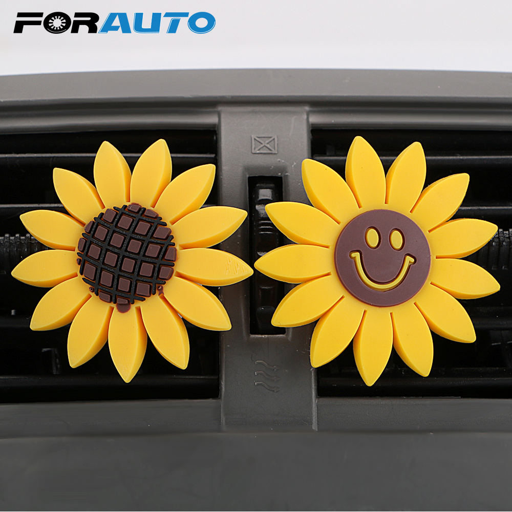 FORAUTO Car Air Freshener Sunflower Shape Auto Outlet Perfume Air Conditioner Vent Clip Car-styling Solid Fragrance Accessories