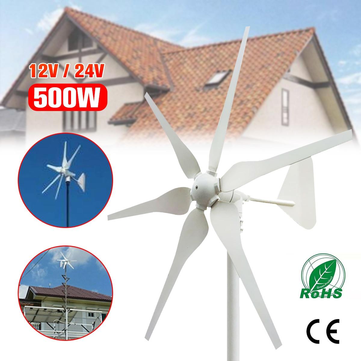 2018 6 Pale Eoliche Turbine Eoliche Generatore di CC 12 v/24 v 500 w Vento In Miniatura Turbine Casa Residenziale Con per Uso Domestico
