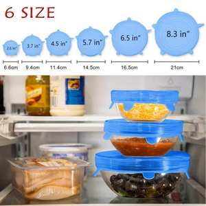 6 Pcs/Set Silicone Cover Kitchen Food Fresh Keeping lids