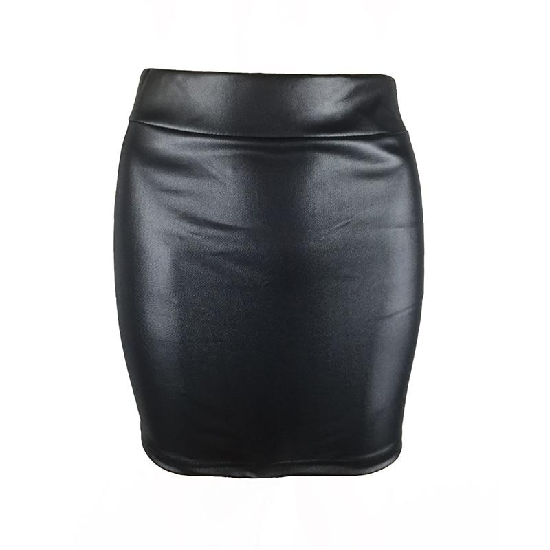 Sexy Skirt Women Faux Leather Pleated Lady Work Pencil Skirt Bodycon High Waist Mini Skirt