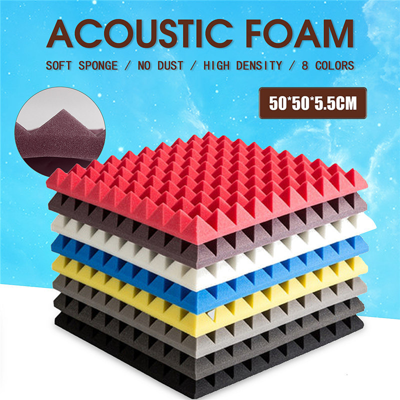 500x500x55mm Drum Room Accessories Acoustic Sound Stop Absorption Pyramid Studio Soundproof Foam Sponge For KTV  Meeting Room