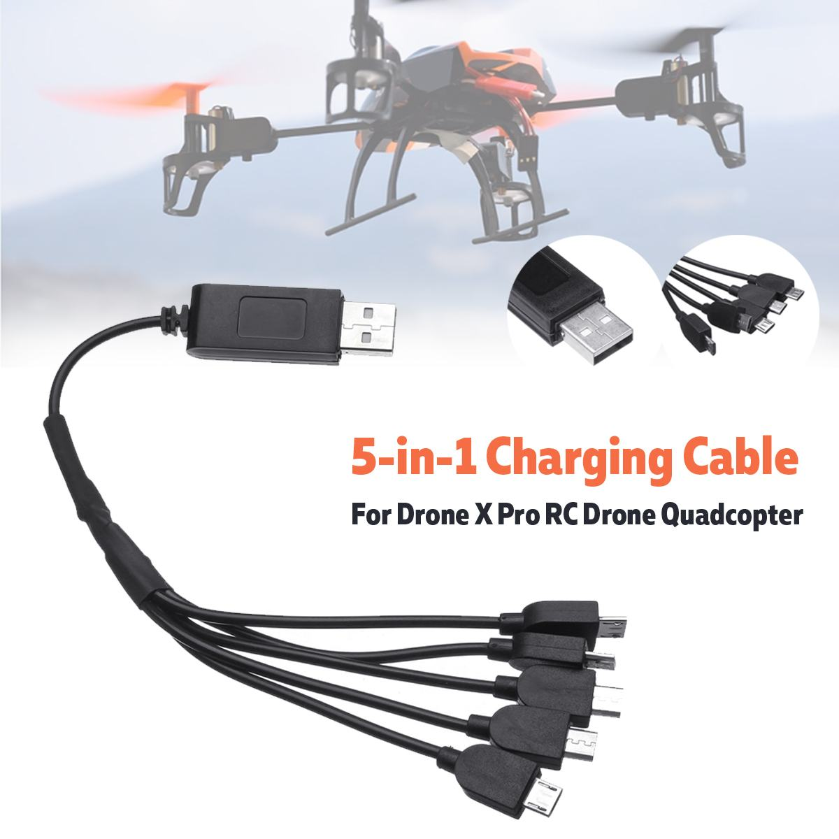 <font><b>5</b></font> in <font><b>1</b></font> 26cm Multi-Charging <font><b>USB</b></font> Charging Cable For Drone X Pro RC Drone Quadcopter Charging image