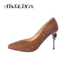 AIKELINYU New Sexy Women Pumps Elegant Wedding Shoes Fashion Pointed Toe Thin High Heel Genuine Leather Lady Pump