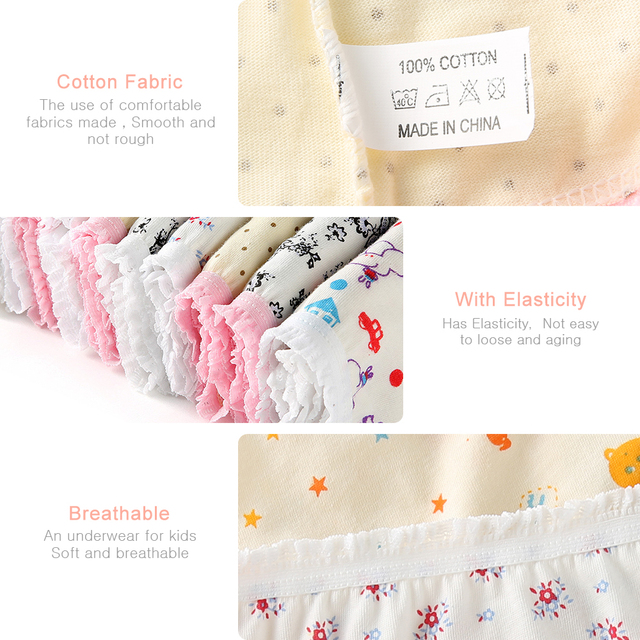 6Pcs/Lot 100% Organic Cotton Baby Kids Girls Briefs Girl Underwear Children Shorts Panties For Children's Underwear 0-11 y Baby Clothes Kid (3+ years) Panties Shop by Age Toddler (1-3 years)