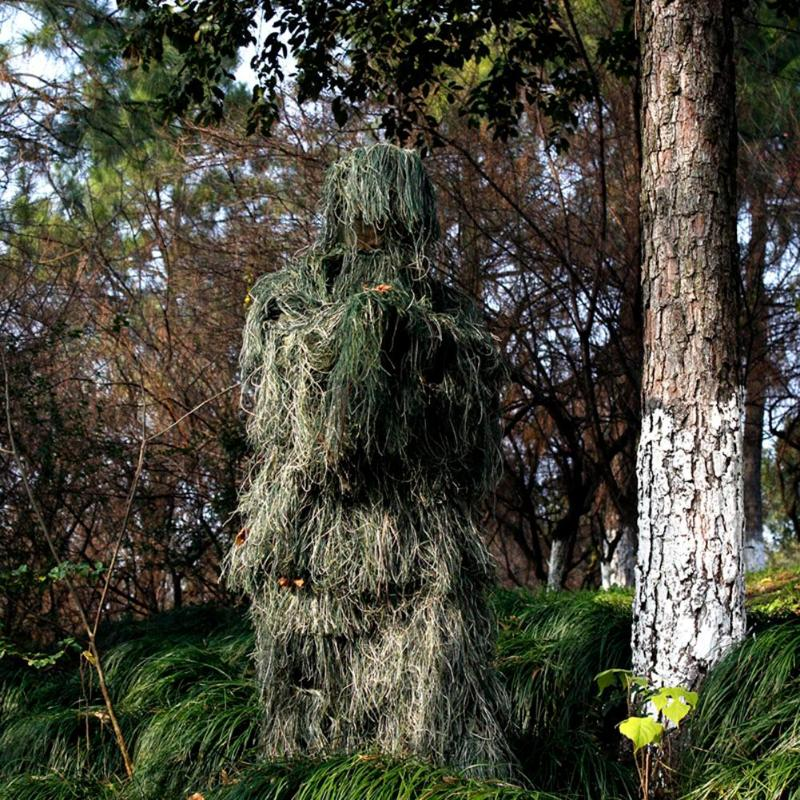 Image 1 - 3D Leaf Camouflage Ghillie Suit Outdoor Hunting Birding Watching Photographing Clothing Breathable Jungle Clothes for Hunter-in Hunting Ghillie Suits from Sports & Entertainment