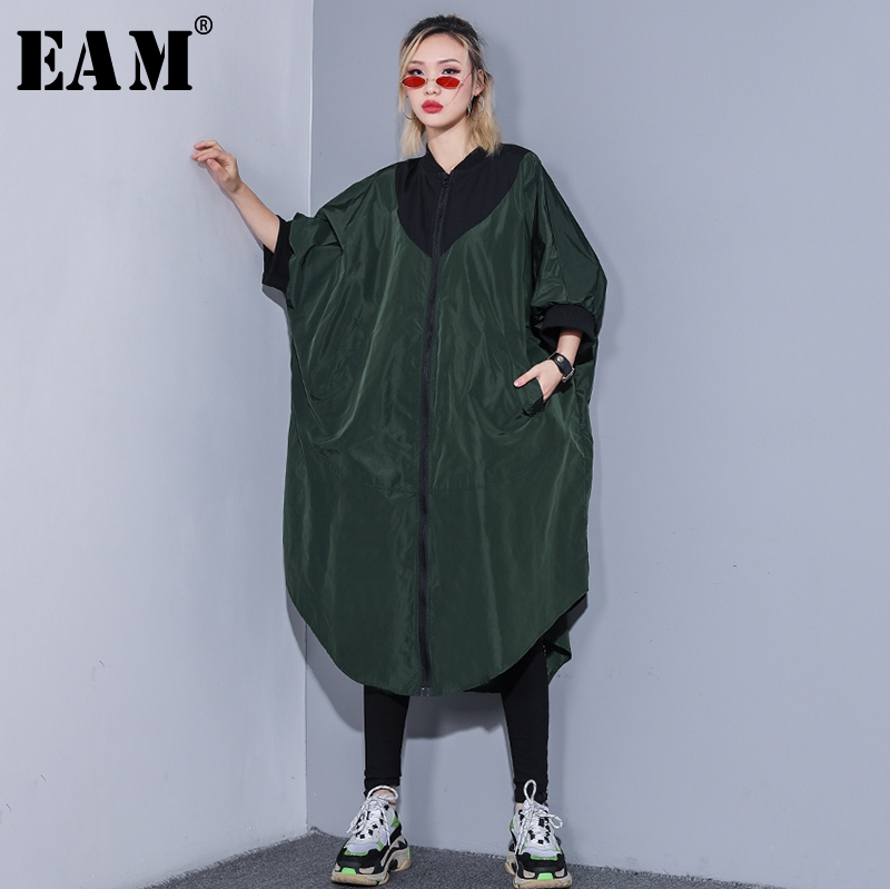 [EAM] 2019 New Spring Summer Stand Collar Long Sleeve Hit Color Back Ribbon Big Size Long Windbreaker Women   Trench   Fashion JR114