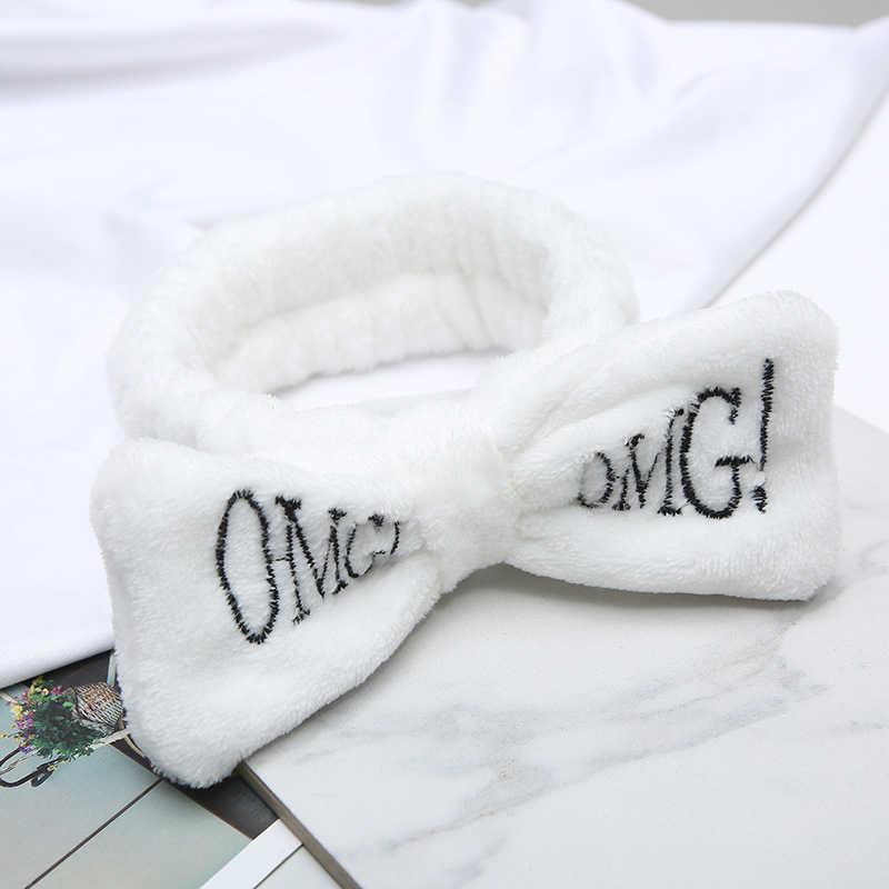 """Новая буква """"OMG"""" фланелевая мягкая бант повязки для женщин девочек тюрбан милый держатель волос повязка на голову аксессуары для волос"""