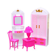 купить Cute DollHouse Simulation Miniature Wooden Furniture Toys Wood Furniture Set Dolls Wardrobe Dressing Table Chair For Kids Play дешево