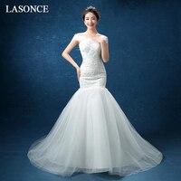 LASONCE Pleat Boat Neck Lace Appliques Mermaid Wedding Dresses Pearls Short Sleeve Sweep Train Backless Bridal Dress