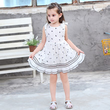 Kids girls dress new summer 2019 cotton butterfly jacquard baby dress sleeveless children's clothing
