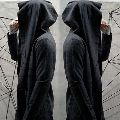 New Fashion Women Men Unisex Gothic Outwear Hooded Coat Black Long Jacket Warm Casual Cloak Cape Hoodies Cardigans Tops Clothes Multan