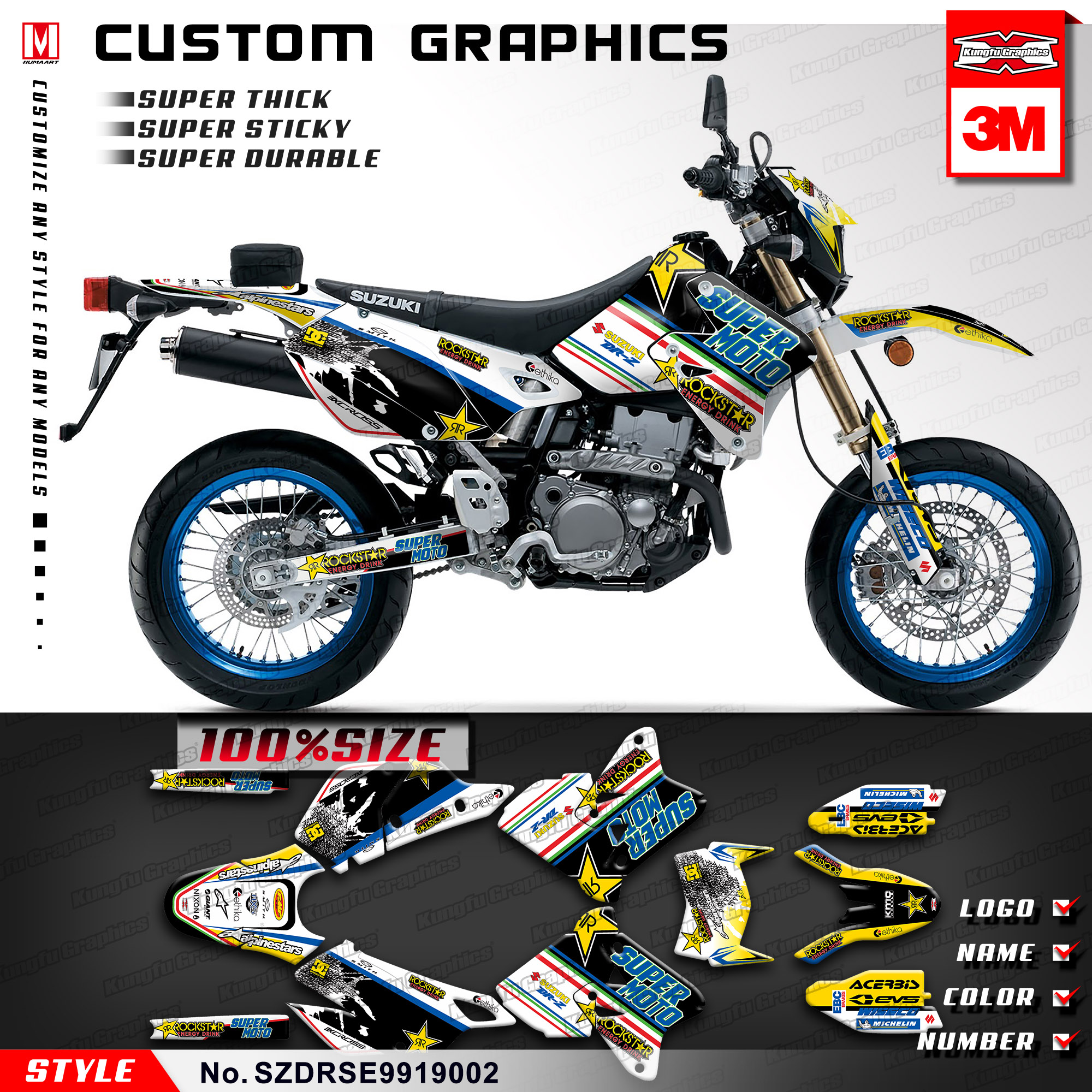 Us 139 89 kungfu graphics custom stickers vehicle wraps for suzuki drz400sm supermoto drz 400 e enduro 1999 2019 style no szdrse9919002 in decals