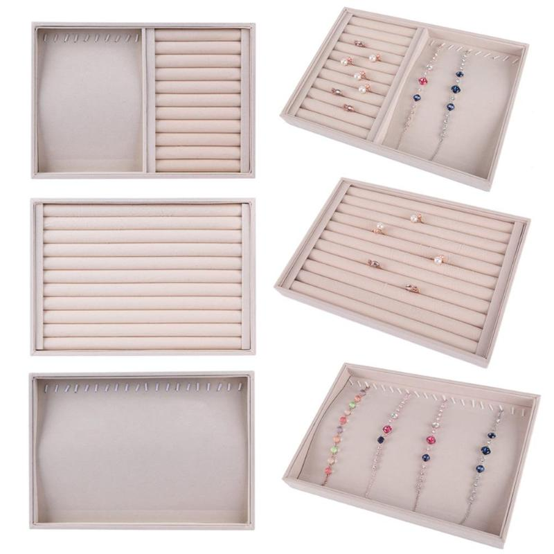Jewelry Tray Velvet Jewelry Ring Earring Insert Display Cufflinks Organizer Box Flat Stackable Tray Holder Storage Showcase