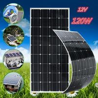 120W 12V Solar Panel Monocrystalline Semi Flexible Battery Charger Solar Cell DIY Module For Car Battery Sunpower 1.5m Cable