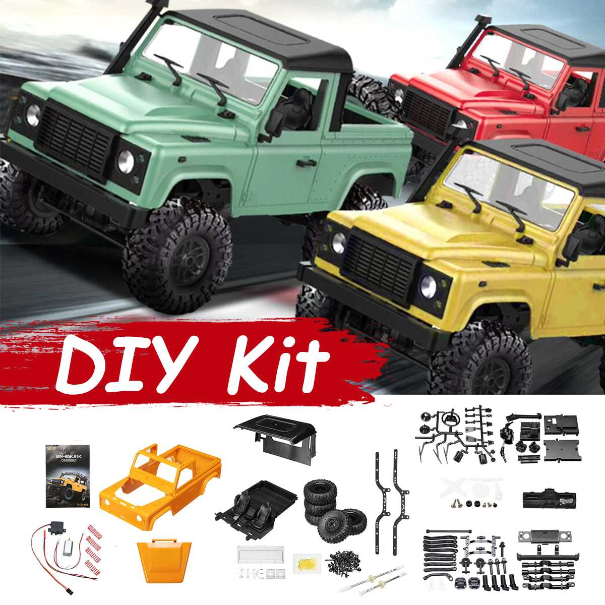 Military Truck D90 1/12 2.4G 4WD RC Car DIY Kit Off-road Buggy Kids Remote Toy Model Colors Plastic Metal Crawler Parts CrawlerMilitary Truck D90 1/12 2.4G 4WD RC Car DIY Kit Off-road Buggy Kids Remote Toy Model Colors Plastic Metal Crawler Parts Crawler