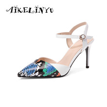 AIKELINYU Fashion High Thin Heels Sandals Pointed Toe Quality Cow Leather Office Elegant Hot Sale Women Pumps Lady