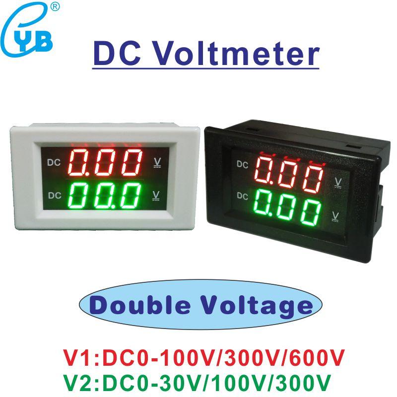 YB4835VV Напряжение м двойной Вольтметр постоянного тока для детей, на возраст от 0 до 30V 100V 300V 600V Вольт Панель датчик 0,39 ''светодиодный цифровой 2-...