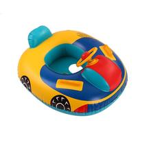 Cute Baby Inflatable Swimming Pool Ring Kids Seat Floating Car Shape Boat with Steering Wheel Child Fold-able Pool Seat Float