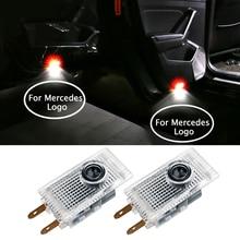 Для Логотип Mercedes двери автомобиля света Добро пожаловать плафон светодиодный подходит для VIANO VITO E W210 Sprinter 324 эмблема Предупреждение лампы проектора