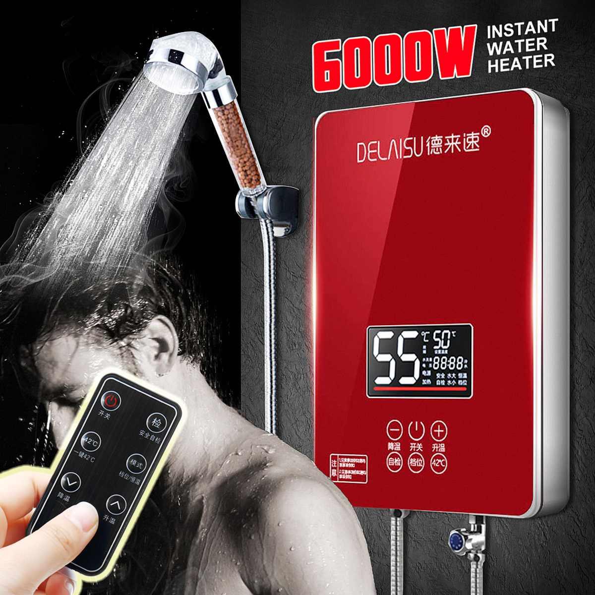6000 W chauffe-eau électrique instantané sans réservoir chaudière bain douche buse ensemble Intelligent isolation capteur de Protection des problèmes