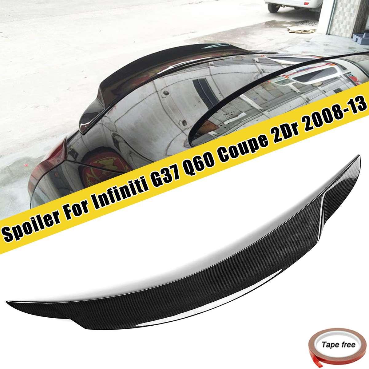 Real da Fibra do Carbono de Alta Pontapé Traseiro Trunk Spoiler Asa Para Infiniti G37 2Dr Q60 Para Coupe 2008 2009 2010 2011 2012 2013 Auto Lábio