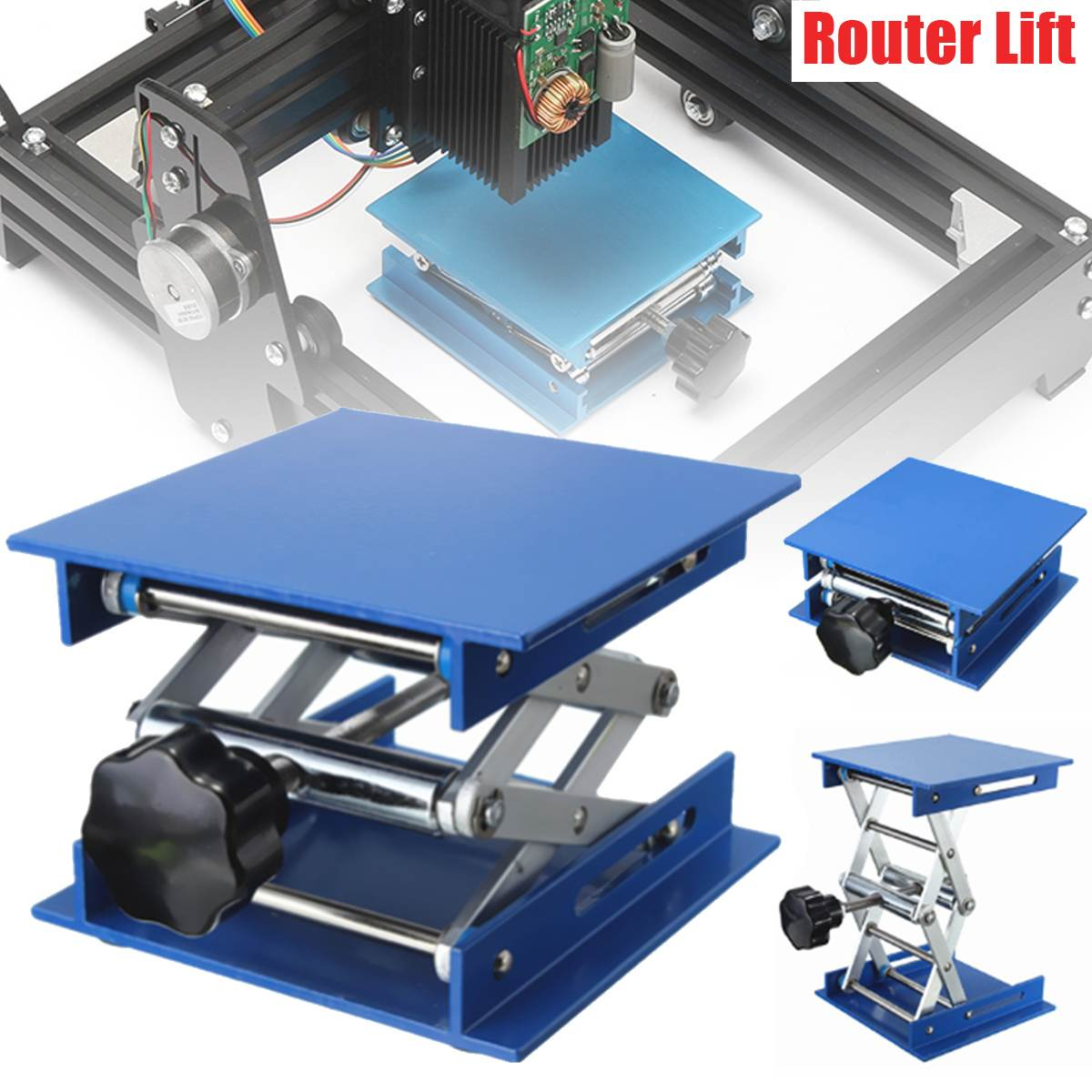 Stainless Steel Laboratory Lifting Platform Stand Rack Scissor Lab-Lifting Aluminum Oxide Manual Control 100X100X150MM