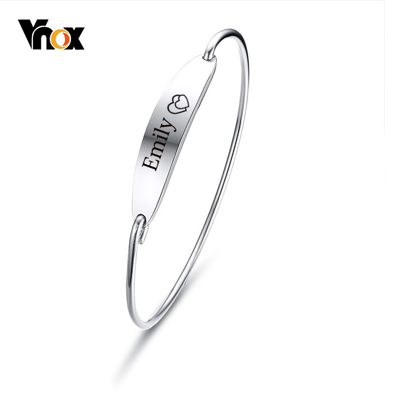 Vnox Simple Women's Bar Cuff Bracelet Bangle Personalized Engraving Record Name Love Sisters Best Friends Pulseira Gifts