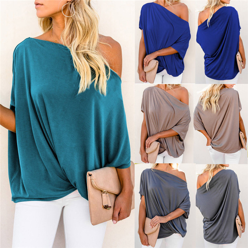 New Women's Fashion Skew Collar   Blouse   Short Sleeve Loose   Shirt   Ladies Casual Womens Tops and   Blouse   Plus Size Summer 2019