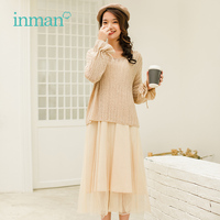 INMAN 2018 Winter New Arrival Literary Lazy Style Fashion Korean Long Sleeve Shirt Middle Skirt Woman Two pieces Suits
