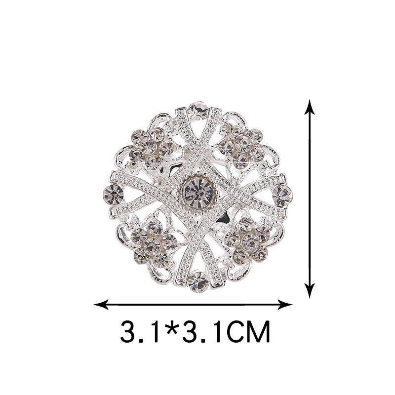 De plata falda de fiesta de flores elegante redondo suéter 10 modelos de cristal único 1 PC Círculo de Diamante de imitación broche de novia sombreros