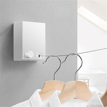 Percha de pared retráctil para interiores y exteriores, perchero mágico para secar en el balcón, baño, cuerda de alambre Invisible para ropa