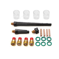 21pcs / set Practical Tig Gas Lens Welding Torch Stubby Gas Lens # 10 Pyrex Cup Kit for WP 17/18/26 Torch TIG Welding Kit