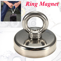1Pcs 112KG 60mmx50mm Hunting Recovery Salvage Neodymium Detector Eyebolt Ring Magnet Powerful Permanent Magnetic