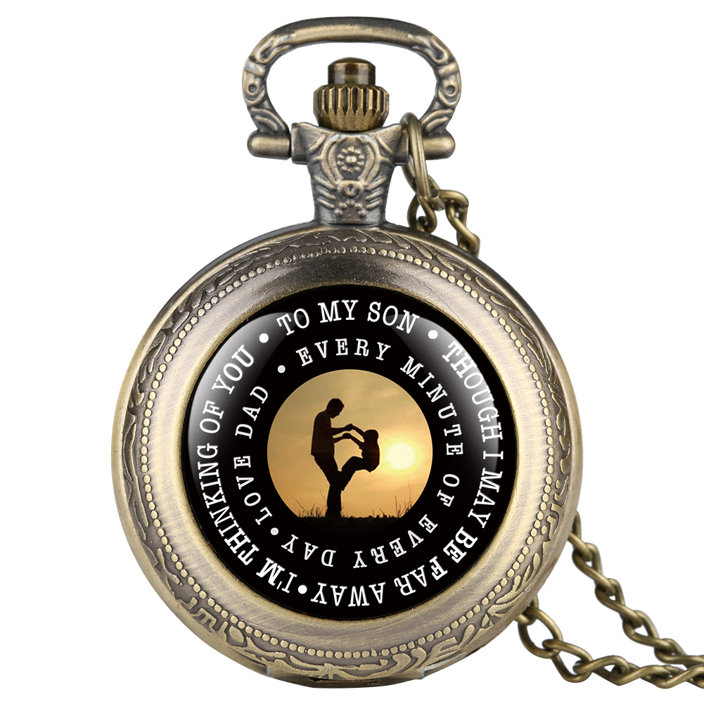 Vintage Quartz Pocket Watch For Son Golden Love Dad Series Pocket Watches For Child Full Cover Pendant Watch Necklace For Kids